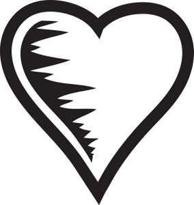 Human Heart Clipart Black And White Black And White Heart Graphic 0071