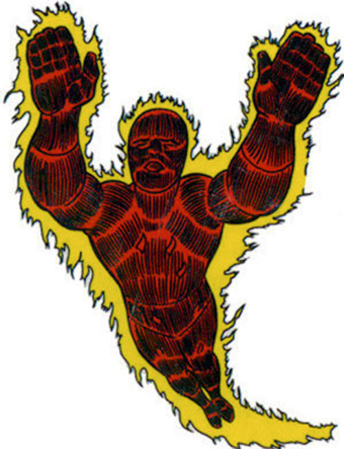Human Torch of the Fantastic 4 (Marvel Comics) flying aflame, early art