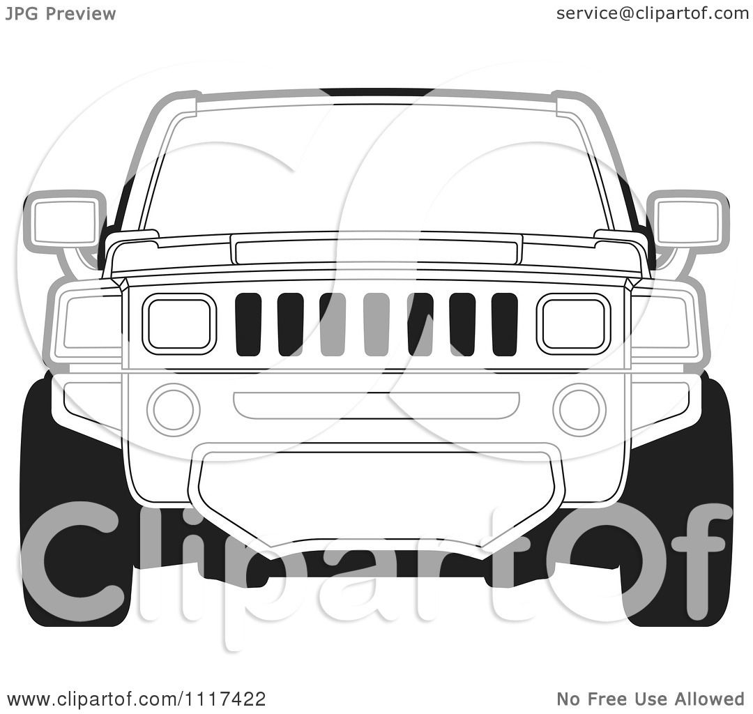 Clipart Of A Frontal View Of A Black And White Hummer SUV - Royalty Free  Vector Illustration by Lal Perera