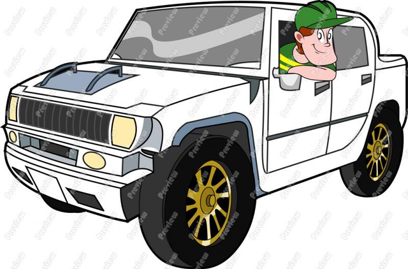 Man Driving Hummer Clip Art Cartoon