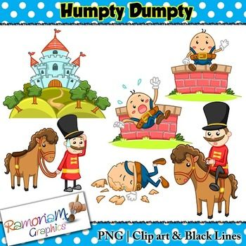 Humpty Dumpty Clip art - a total of 18 images in color, black outline and