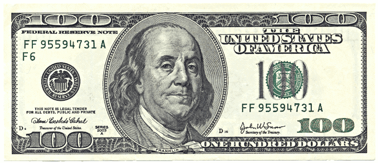 Hundred Dollar Bill Clipart #1