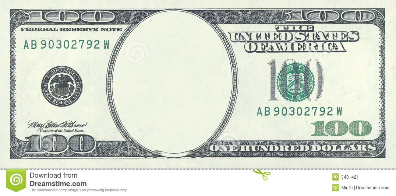 Hundred Dollar Blank Stock Image Image 3401421