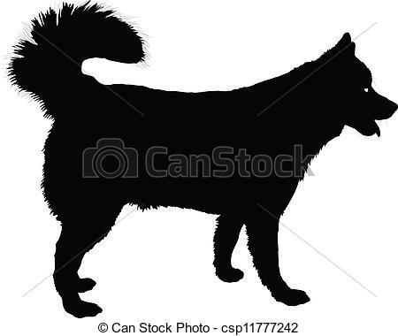... Husky - A profile of a Husky dog in -... Husky - A profile of a Husky dog in black silhouette.-11