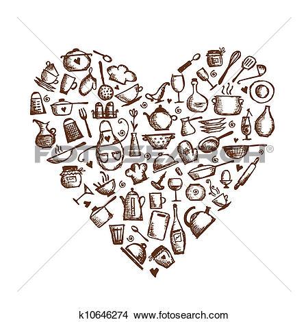 I Love Cooking! Kitchen Utensils Sketch,-I love cooking! Kitchen utensils sketch, heart shape for your design-9