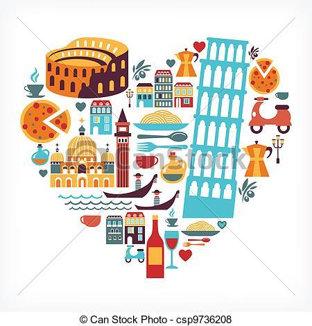 I Love Italy Clip Artby Catalby25/4,807;-I Love Italy Clip Artby catalby25/4,807; Italy love - heart shape with vector icons - Italy love -.-5