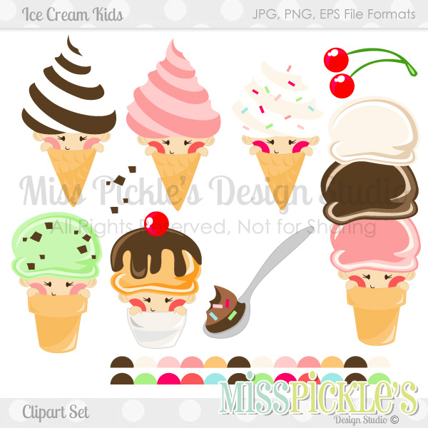 Ice Cream Kids Clipart Set- F - Free Commercial Use Clipart
