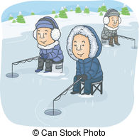 ... Ice Fishing - Illustration Featuring a Group of Men Ice.