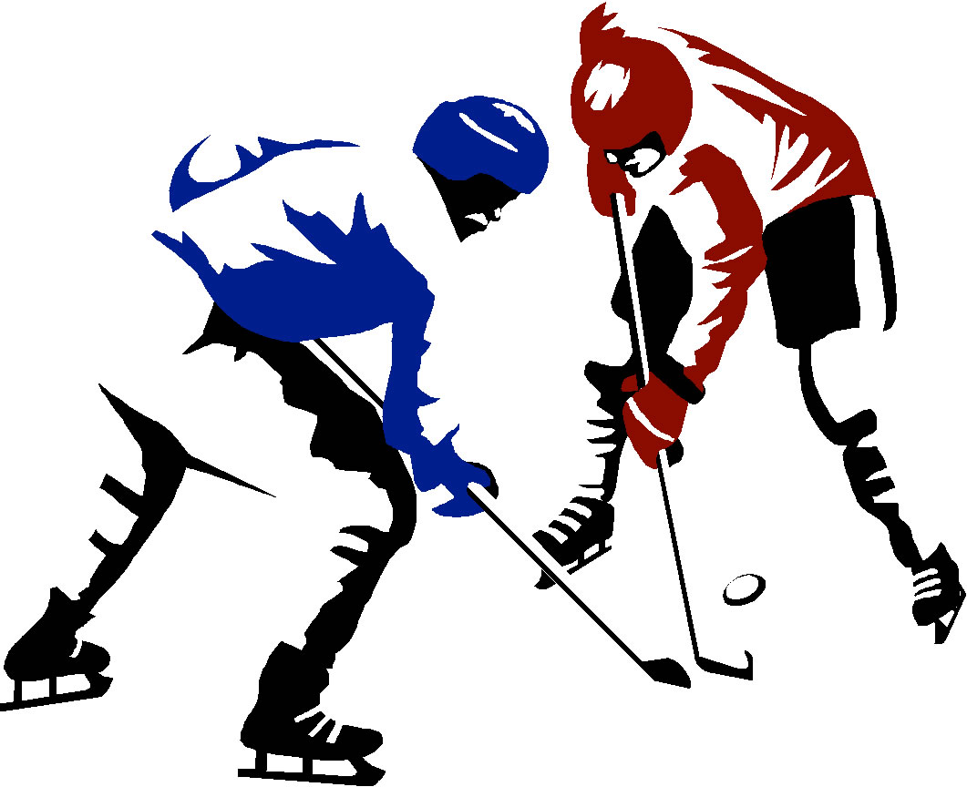 Ice Hockey Clip Art 2 Players - Ice Hockey Clipart