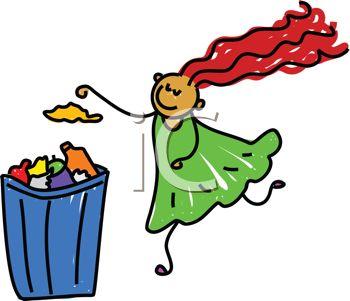 iCLIPART - Royalty Free Clip Art Image o-iCLIPART - Royalty Free Clip Art Image of a Girl Throwing Trash Away-19
