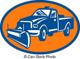 ... icon with Snow plow pick-up truck inside oval - illustration... ...