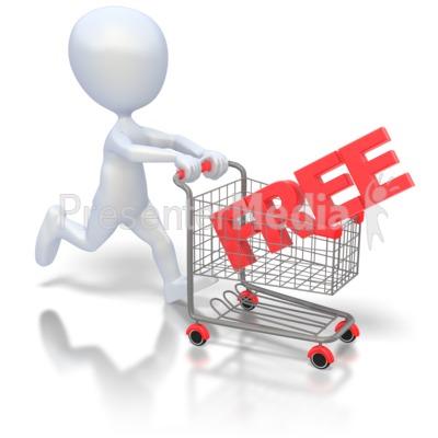 ID# 2099 - Pushing Free Shopping Cart - Presentation Clipart