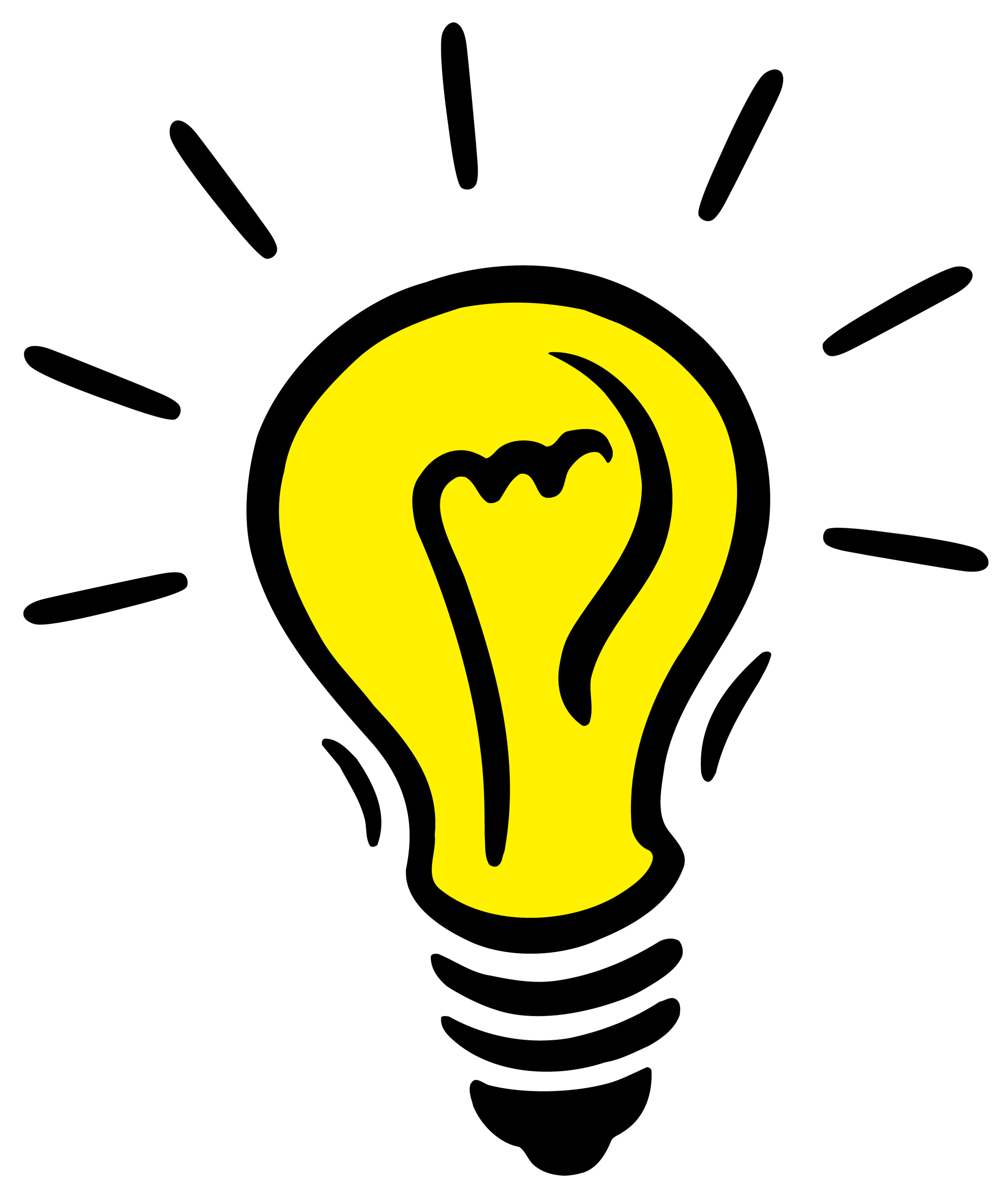 idea light bulb clip art black and white