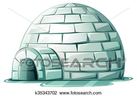 Clipart - Igloo on icy ground. Fotosearch - Search Clip Art, Illustration  Murals,