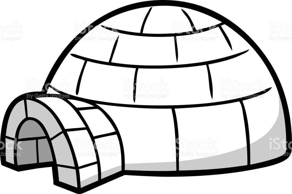igloo clipart black and white 6