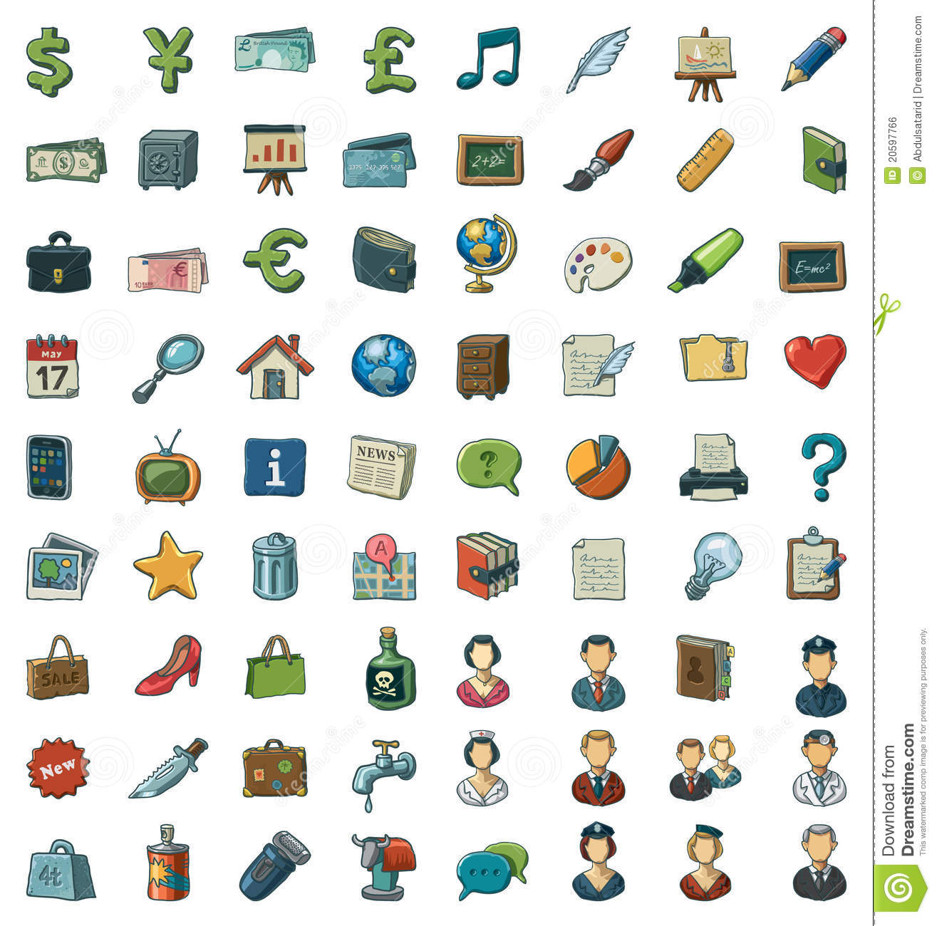 Illustrated clip art set