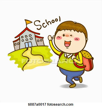 Illustration A Boy Going To School Fotosearch Search Eps Clipart