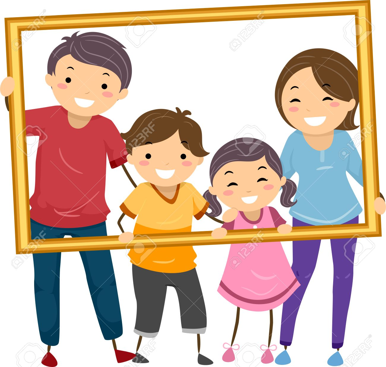 Illustration Featuring A Happy Family Ho-Illustration Featuring a Happy Family Holding a Hollow Frame Stock Vector - 31689328-10