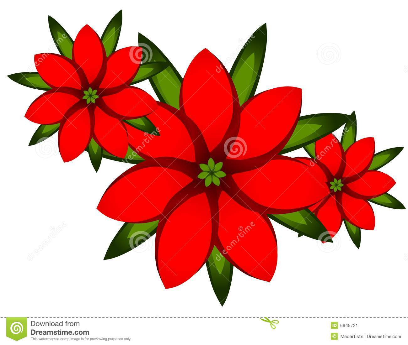 Illustration Featuring A Simple Arrangment Of Red Poinsettia Flowers