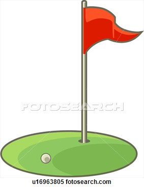 Illustration Flag And Ball At Golf Hole -Illustration Flag And Ball At Golf Hole Fotosearch Search Clipart-13
