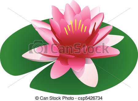 ... Illustration Of A Floating Pink Lotu-... Illustration of a floating pink lotus on a lily pad,.-6