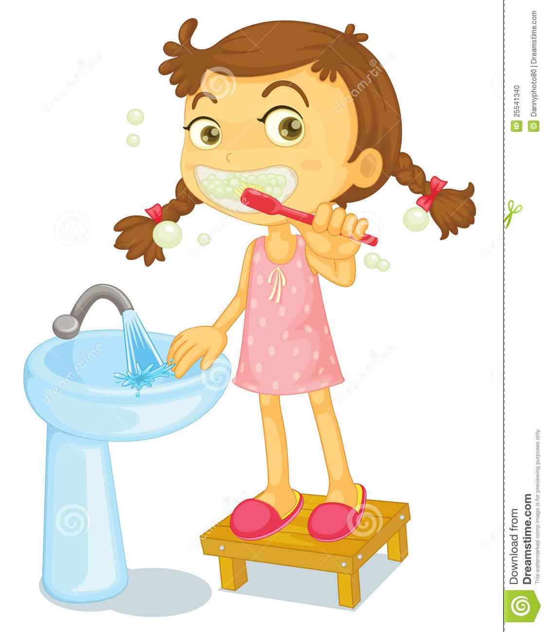 Illustration Of A Girl Brushing Teeth On-Illustration Of A Girl Brushing Teeth On A White Background-14