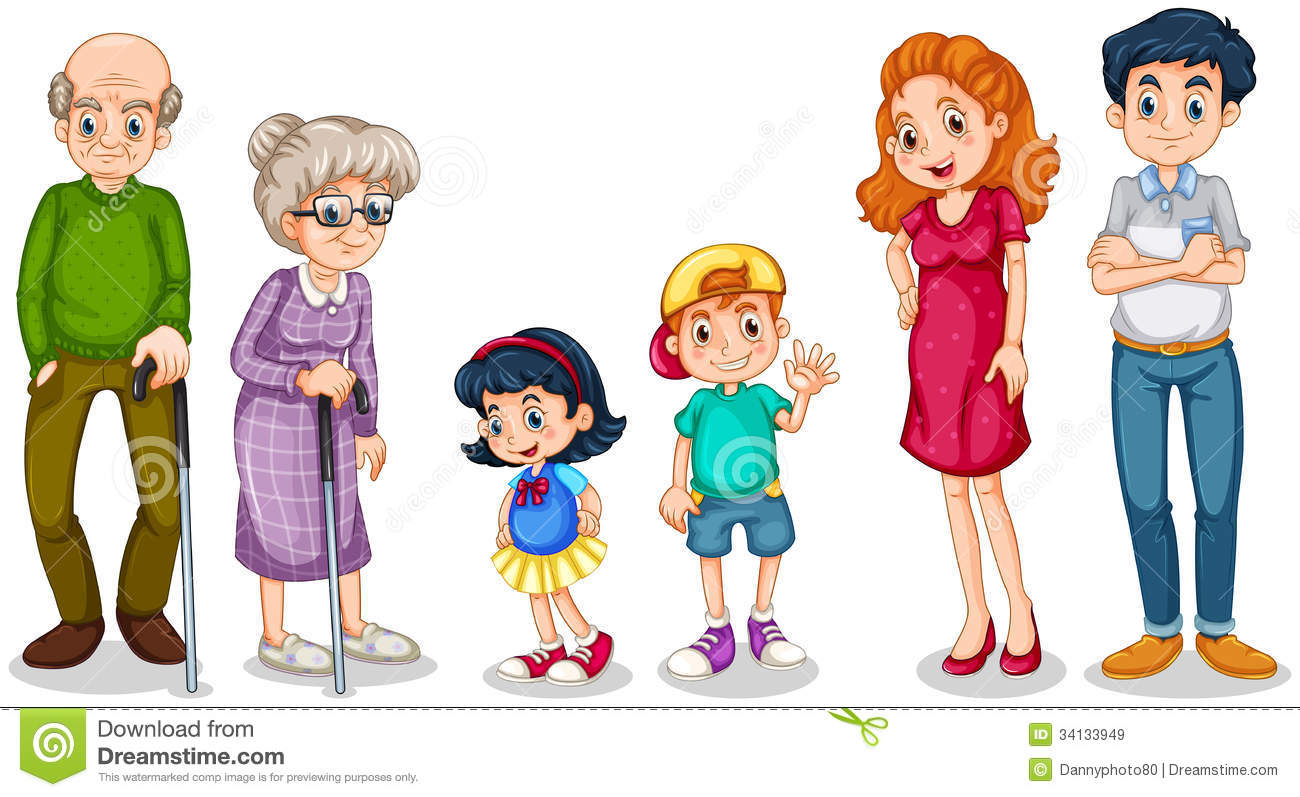 Illustration Of A Happy Family With Thei-Illustration Of A Happy Family With Their Grandparents On A White-14
