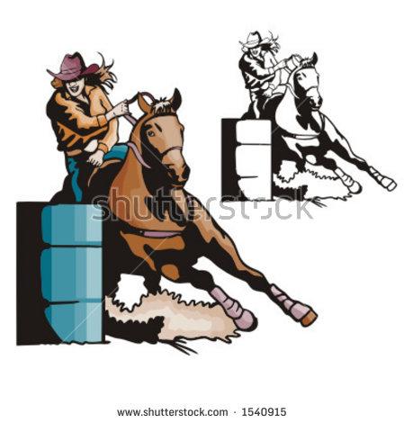 Illustration Of A Ladiesu0026#39; Barrel-Illustration of a ladiesu0026#39; barrel racing.-15