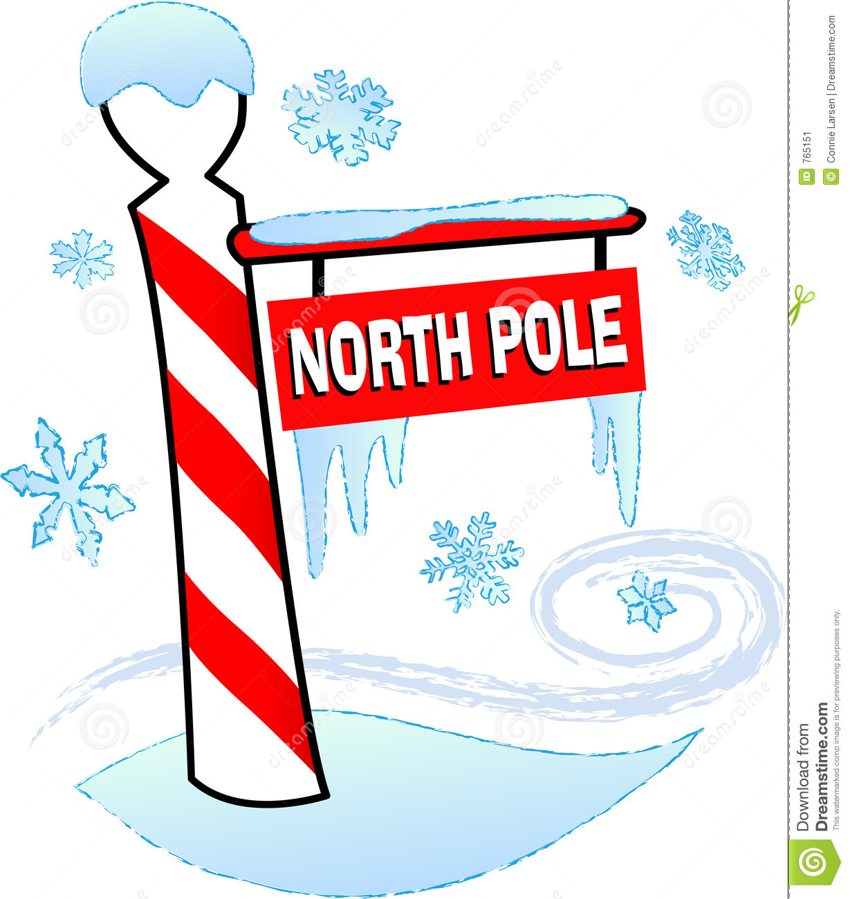Illustration Of A North Pole Sign Surrou-Illustration Of A North Pole Sign Surrounded By Snow And Ice-2