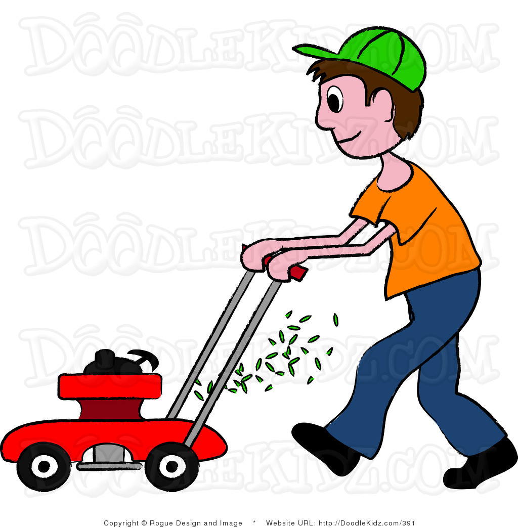 Illustration Of A Teenage Boy Mowing The Lawn In Black And Wallpaper