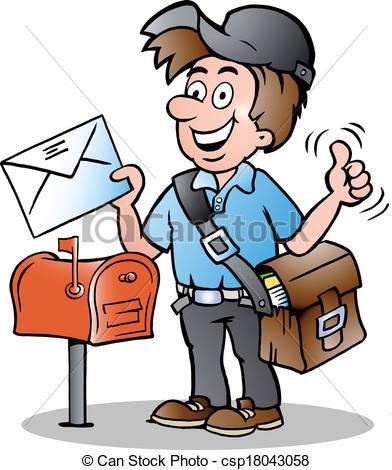 ... illustration of an Happy Postman - Hand-drawn Vector... ...