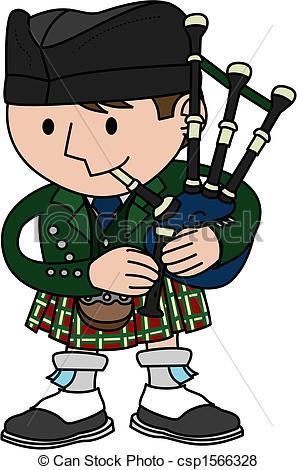 ... Illustration of bagpiper - Illustration of male Scottish.