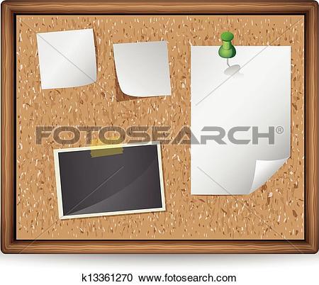 illustration of bulletin board with blan-illustration of bulletin board with blank notes and photos-9