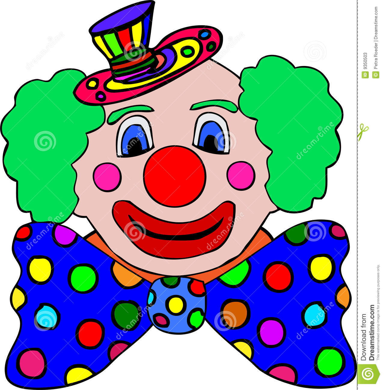 Illustration Of Colorful Clown With Large Spotted Bow Tie Isolated