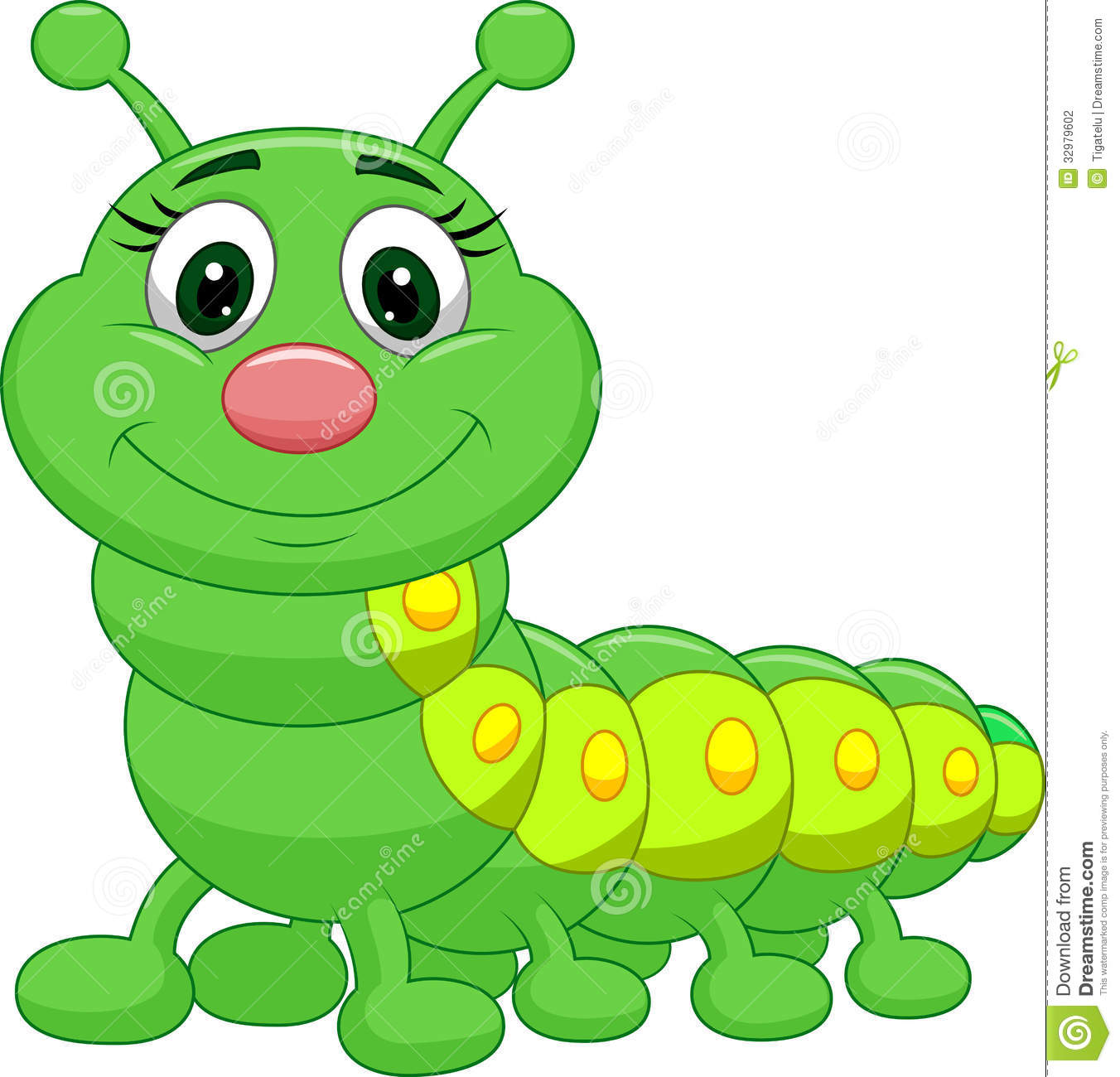 Illustration Of Cute Green Caterpillar C-Illustration Of Cute Green Caterpillar Cartoon-18