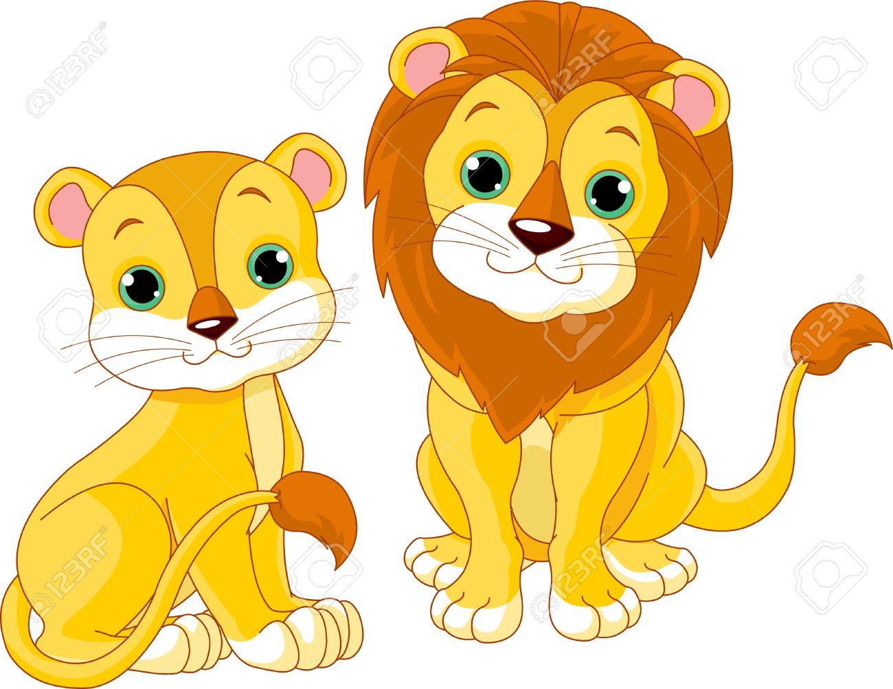 Illustration of cute lion .