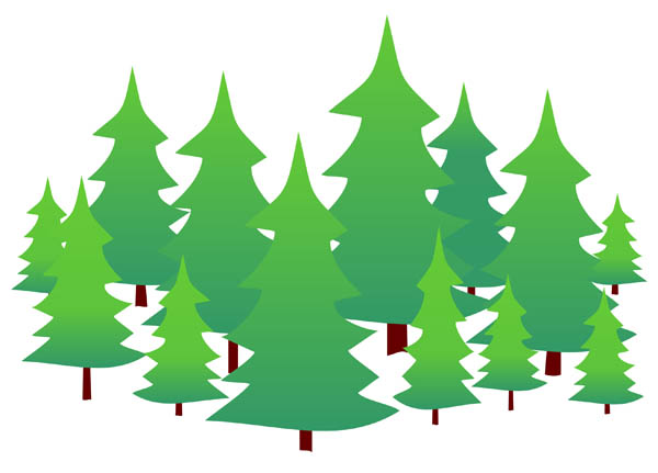 Illustration Of Evergreen Trees On A Pla-Illustration Of Evergreen Trees On A Plain White Background-10