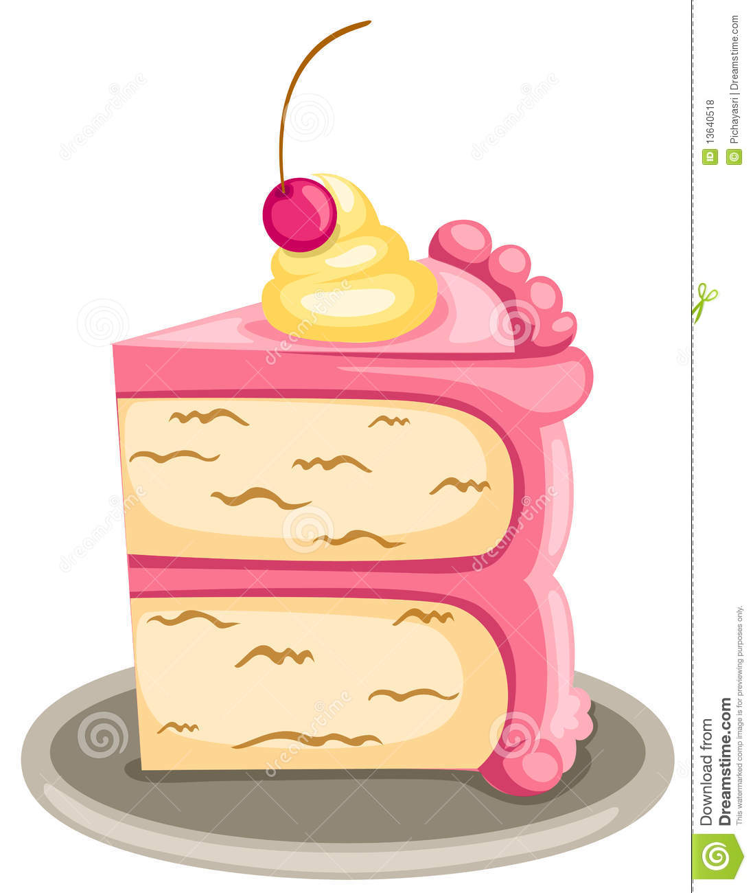 Illustration Of Isolated Piece Of Cake On White Background