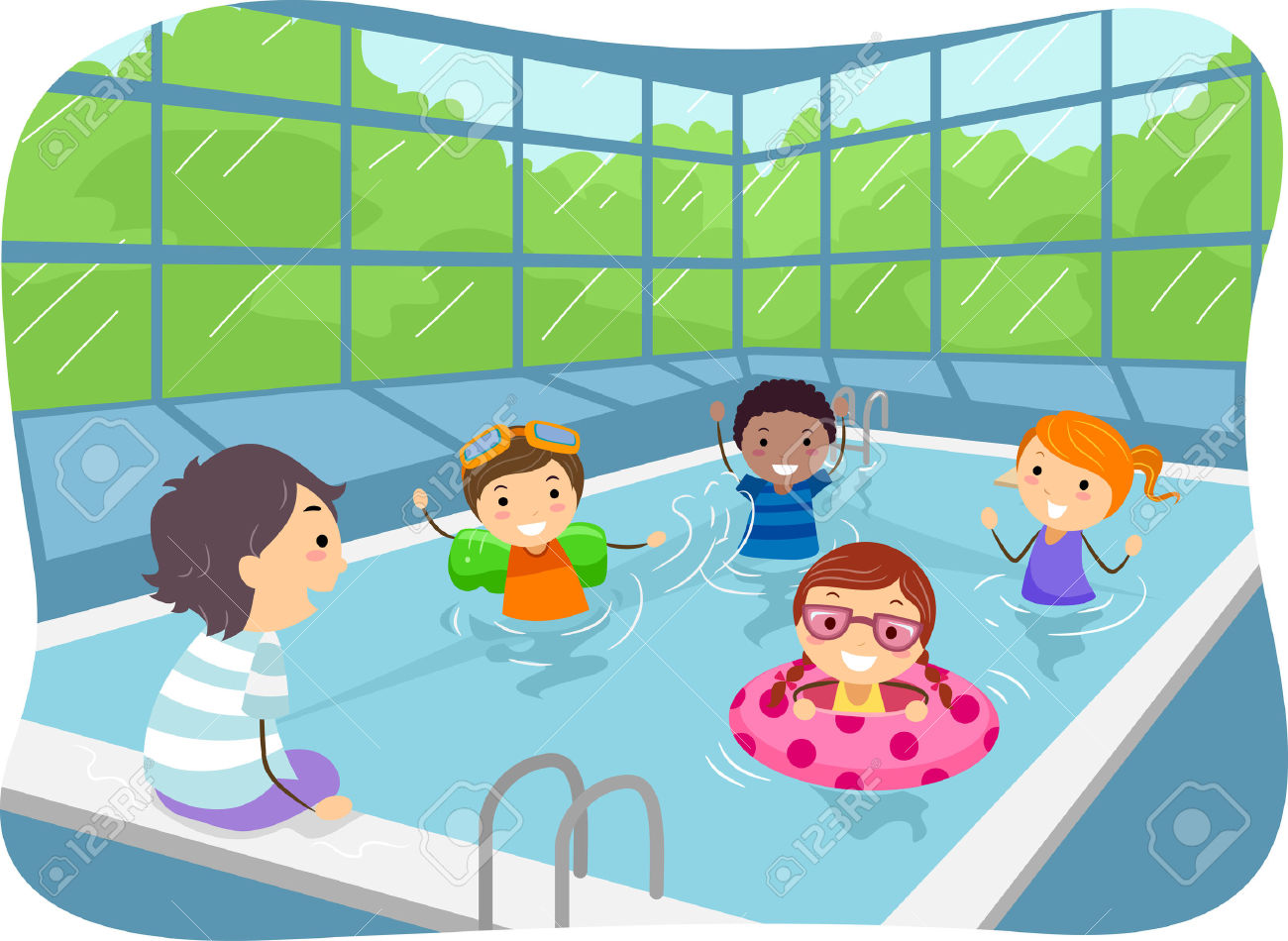 Illustration of Kids Swimming .