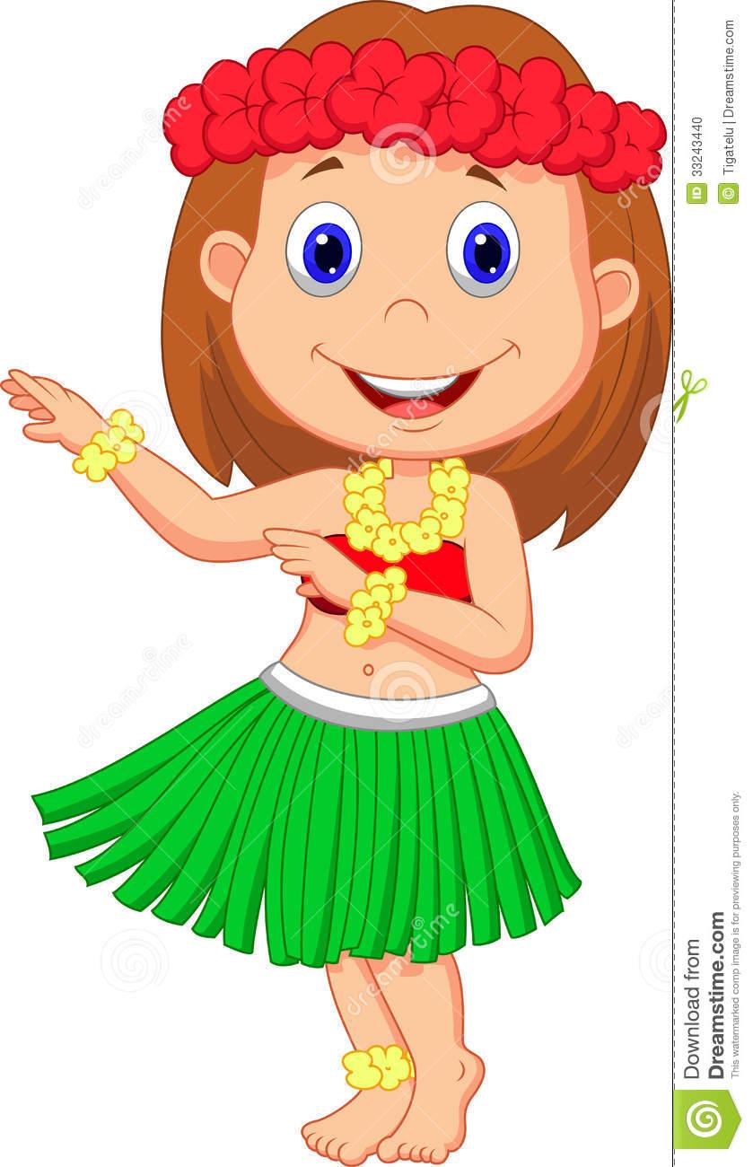 Illustration Of Little Hula Girl Cartoon