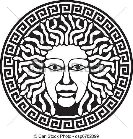 Illustration of Medusa Gorgon head with snake hair. Round.