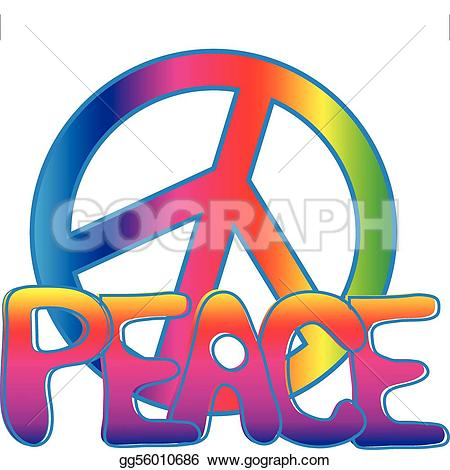 illustration of peace sign · PEACE sign and PEACE text
