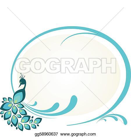 ... illustration of peacock sitting on floral frame