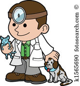 Illustration of veterinarian with animals