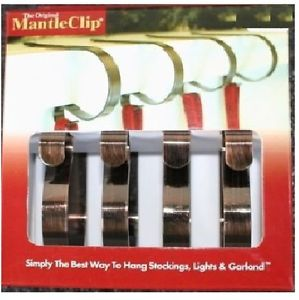 Image is loading ORIGINAL-MANTLE-CLIPS-BRONZE-4-PACK-Christmas-Stocking-