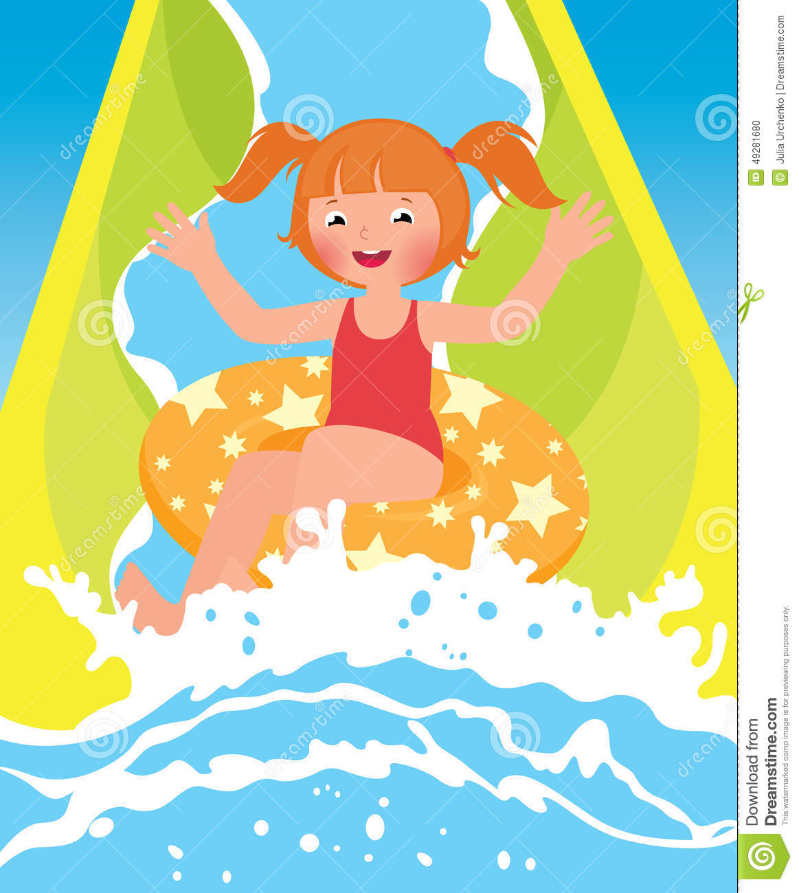 in water park in summer - Water Park Clipart