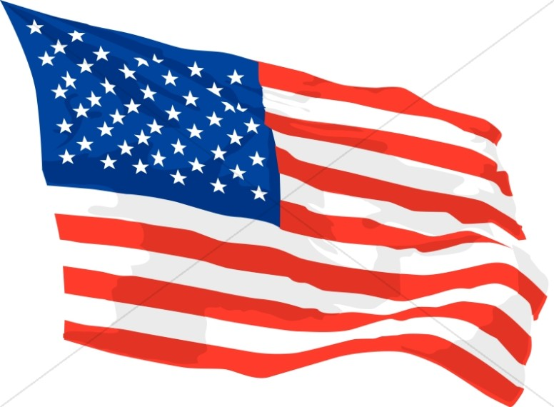America Flag Waving in Wind - Independence Day Clipart