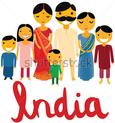 India Clip Art Collection. Landmarks Hap-India Clip Art Collection. Landmarks Happy Large Indian Family With India Hand Written Font-3