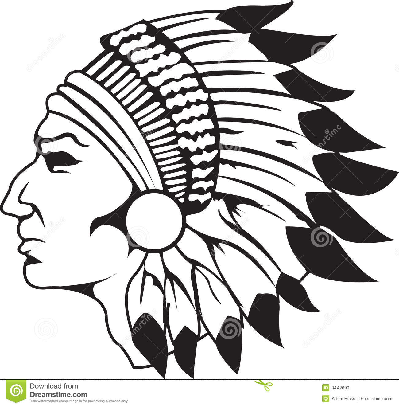 Indian Chief Black And White Stock Photo