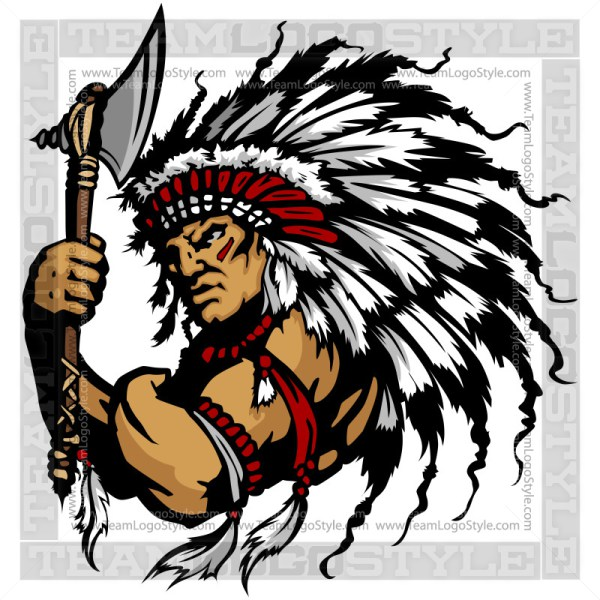 Indian Chief Clip Art u2013 Vector Mascot Graphic